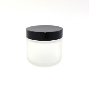 50ml Frosted Glass Jar, Black Cap with Seal